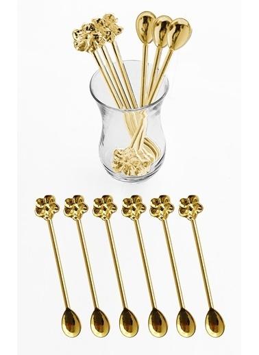 Kitchen Love 6Lı-Metal Gold Japon Gülü Motifli Çay Kaşığı Sarı